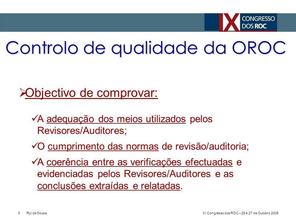 Controlo de qualidade da OROC