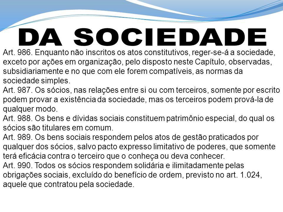 DA SOCIEDADE