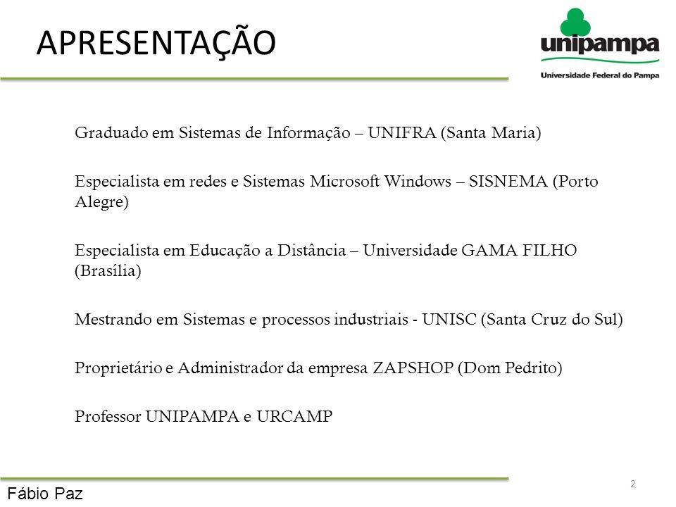 APRESENTAÇÃO Graduado em Sistemas de Informação – UNIFRA (Santa Maria)