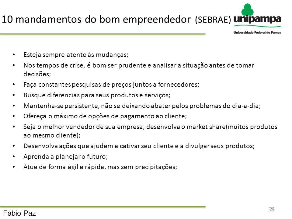 10 mandamentos do bom empreendedor (SEBRAE)