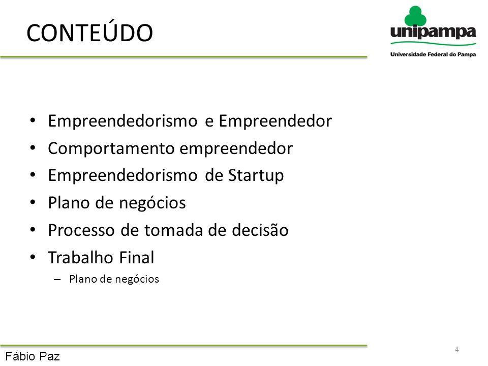 CONTEÚDO Empreendedorismo e Empreendedor Comportamento empreendedor