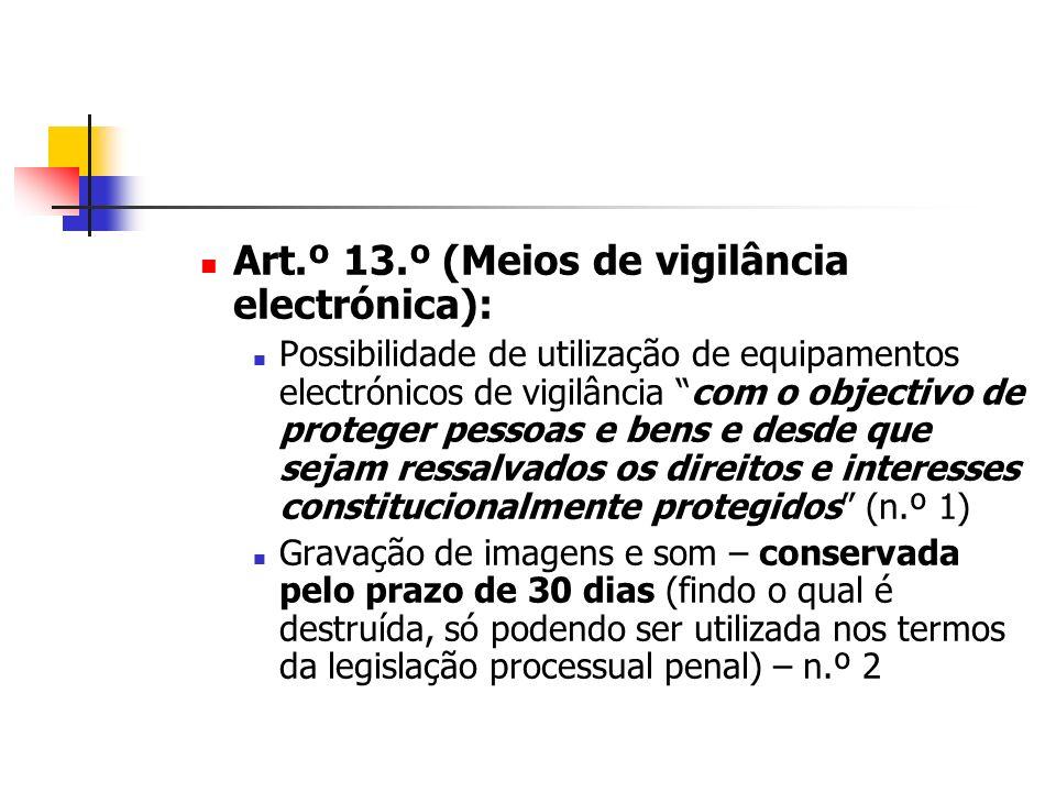 Art.º 13.º (Meios de vigilância electrónica):