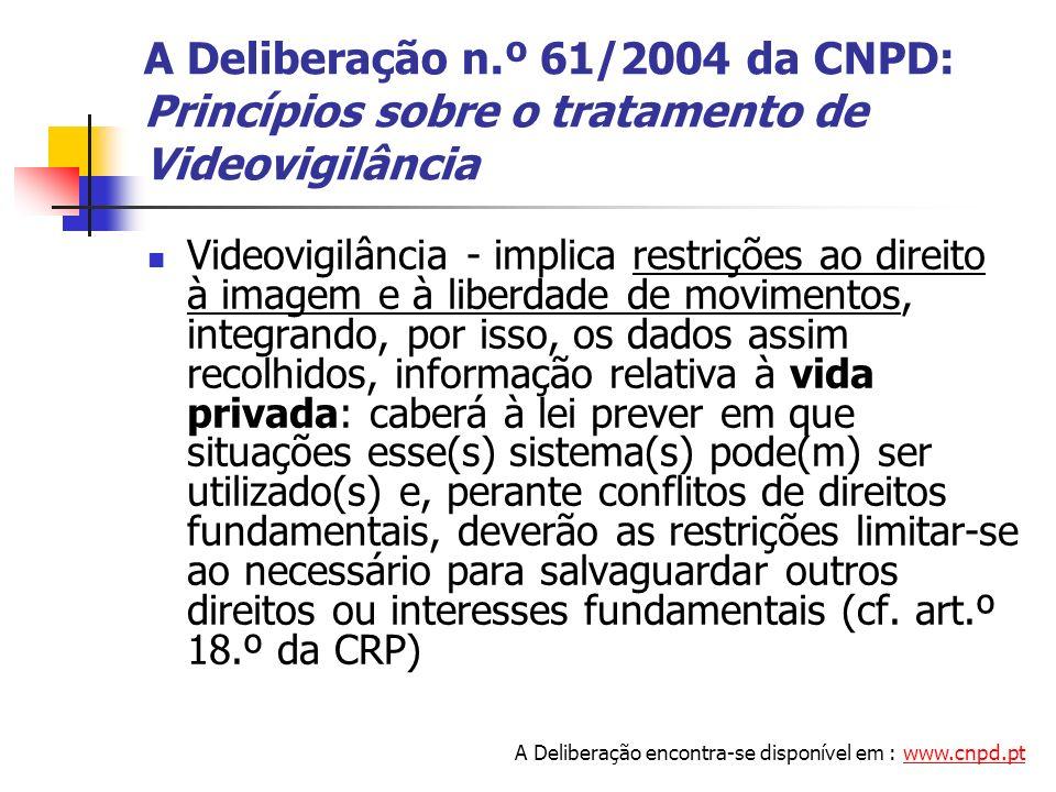 A Deliberação n.º 61/2004 da CNPD: Princípios sobre o tratamento de Videovigilância