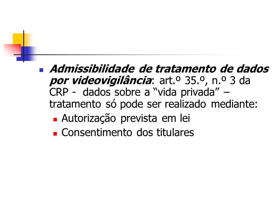 Admissibilidade de tratamento de dados por videovigilância: art. º 35