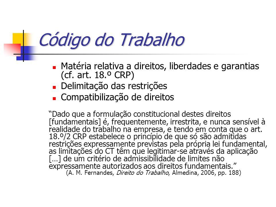 Código do Trabalho Matéria relativa a direitos, liberdades e garantias (cf. art. 18.º CRP) Delimitação das restrições.