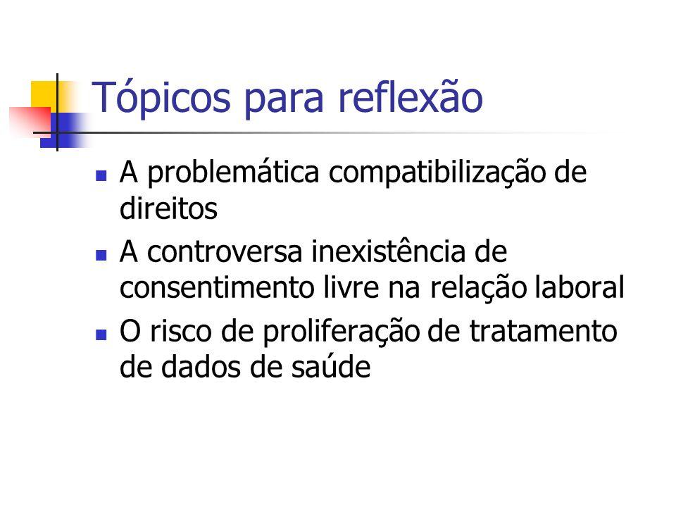 Tópicos para reflexão A problemática compatibilização de direitos