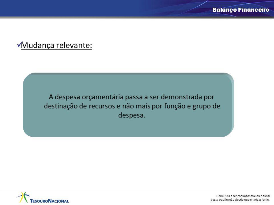Balanço Financeiro Mudança relevante: