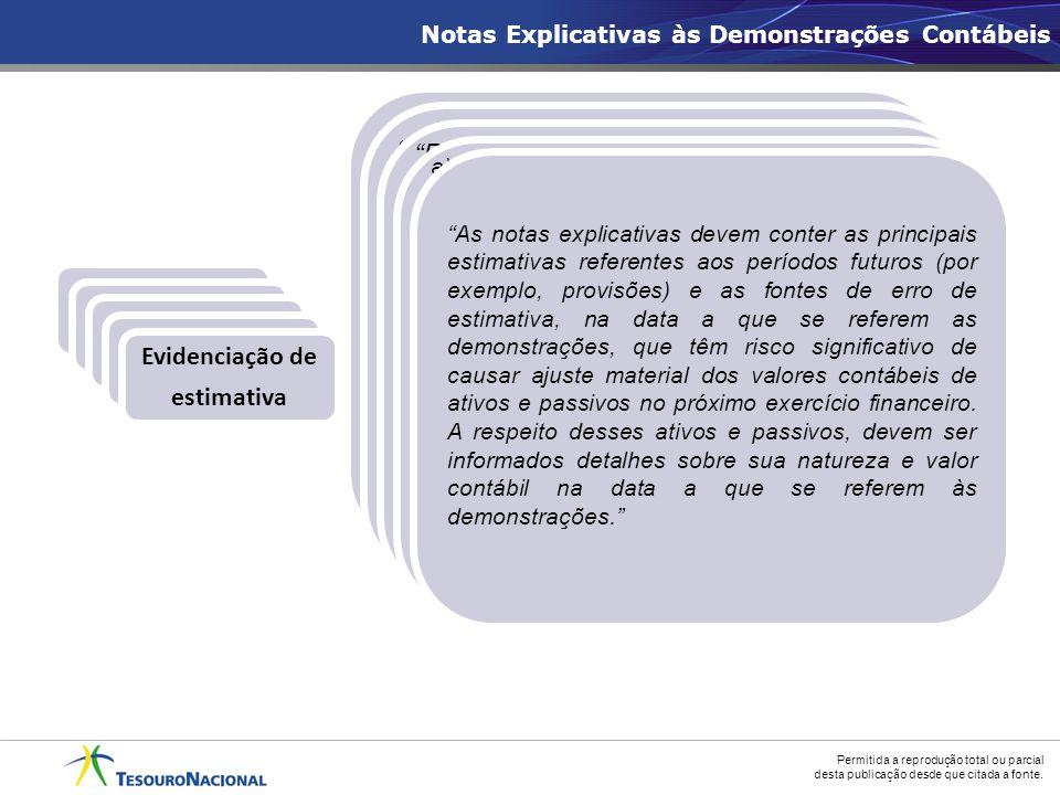Conceitos: Estrutura Evidenciação de estimativa