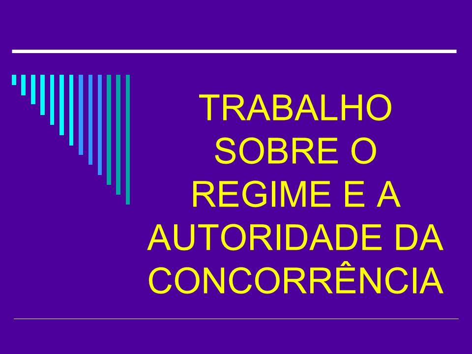 TRABALHO SOBRE O REGIME E A AUTORIDADE DA CONCORRÊNCIA