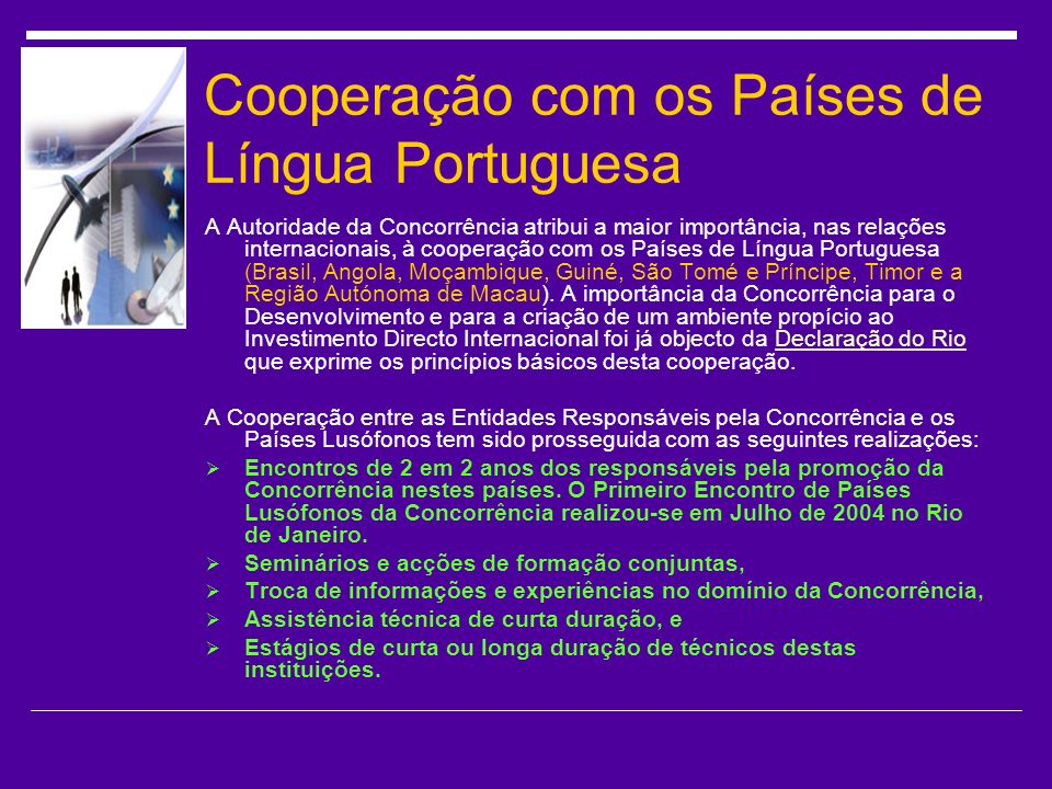 Cooperação com os Países de Língua Portuguesa