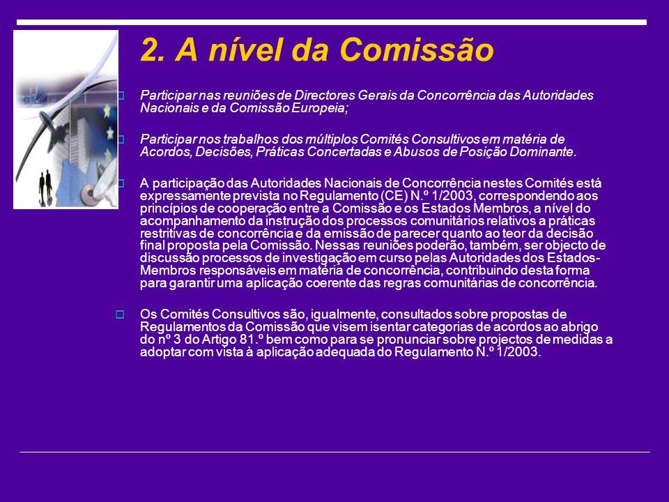 2. A nível da Comissão Participar nas reuniões de Directores Gerais da Concorrência das Autoridades Nacionais e da Comissão Europeia;