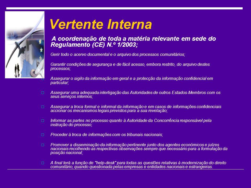 Vertente Interna A coordenação de toda a matéria relevante em sede do Regulamento (CE) N.º 1/2003;