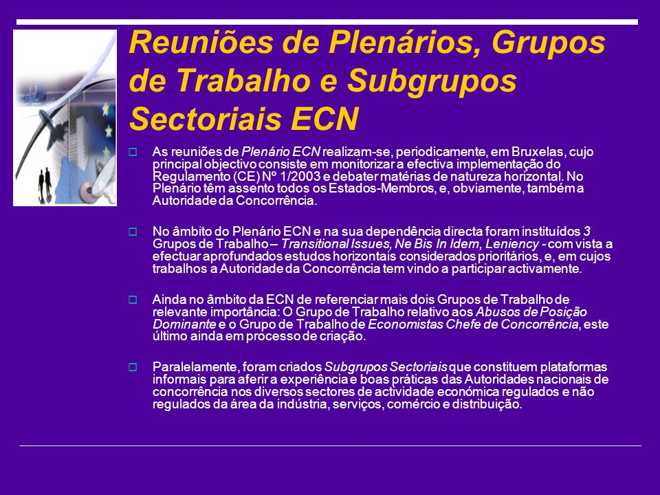 Reuniões de Plenários, Grupos de Trabalho e Subgrupos Sectoriais ECN