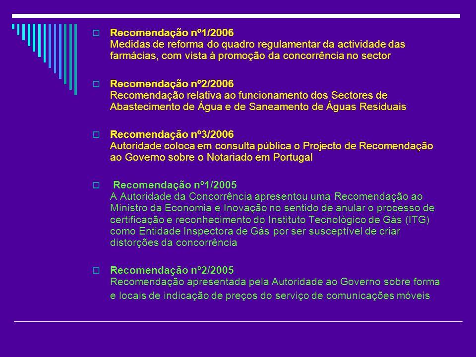 Recomendação nº1/2006 Medidas de reforma do quadro regulamentar da actividade das farmácias, com vista à promoção da concorrência no sector