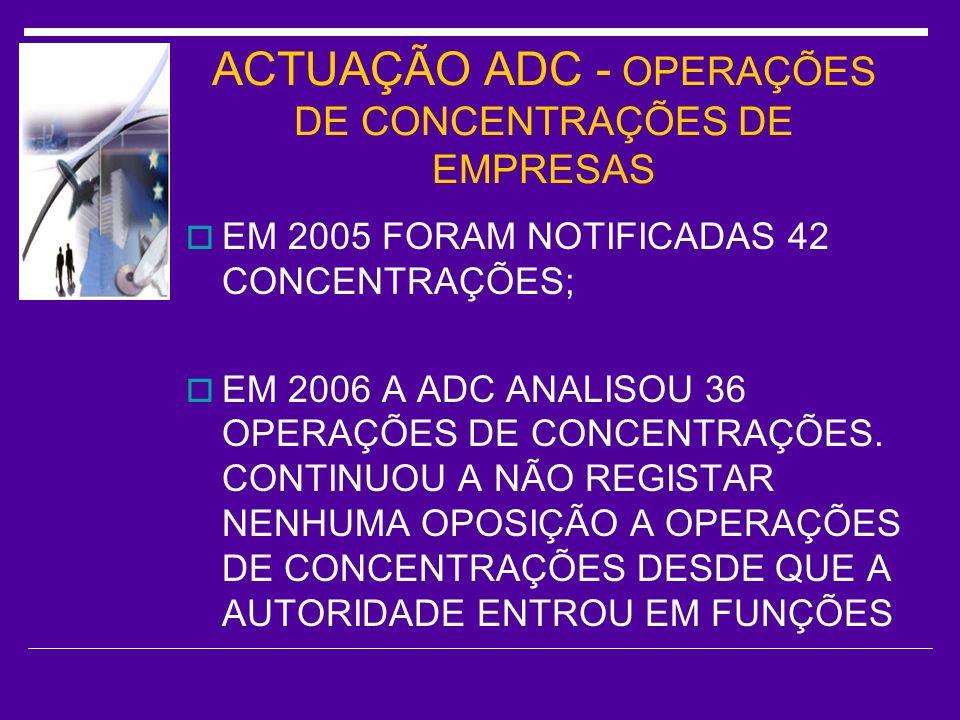 ACTUAÇÃO ADC - OPERAÇÕES DE CONCENTRAÇÕES DE EMPRESAS
