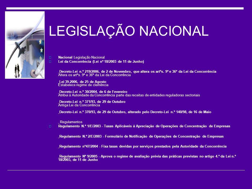 LEGISLAÇÃO NACIONAL Nacional Legislação Nacional