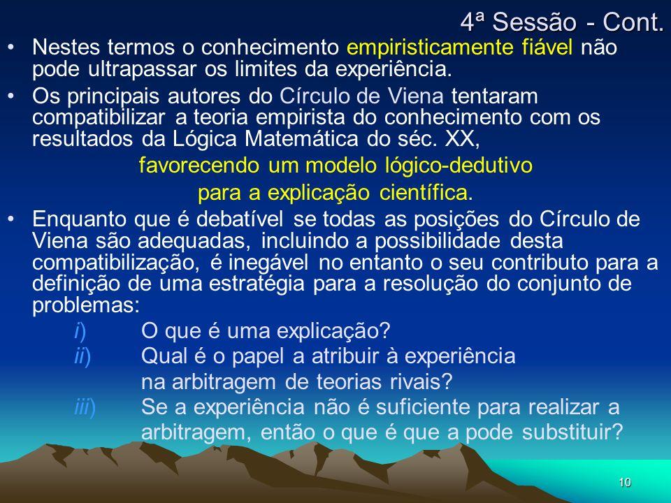 4ª Sessão - Cont. Nestes termos o conhecimento empiristicamente fiável não pode ultrapassar os limites da experiência.