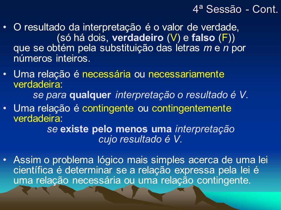4ª Sessão - Cont. O resultado da interpretação é o valor de verdade,