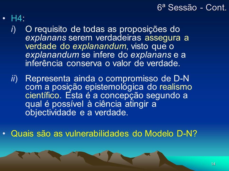 6ª Sessão - Cont. H4: