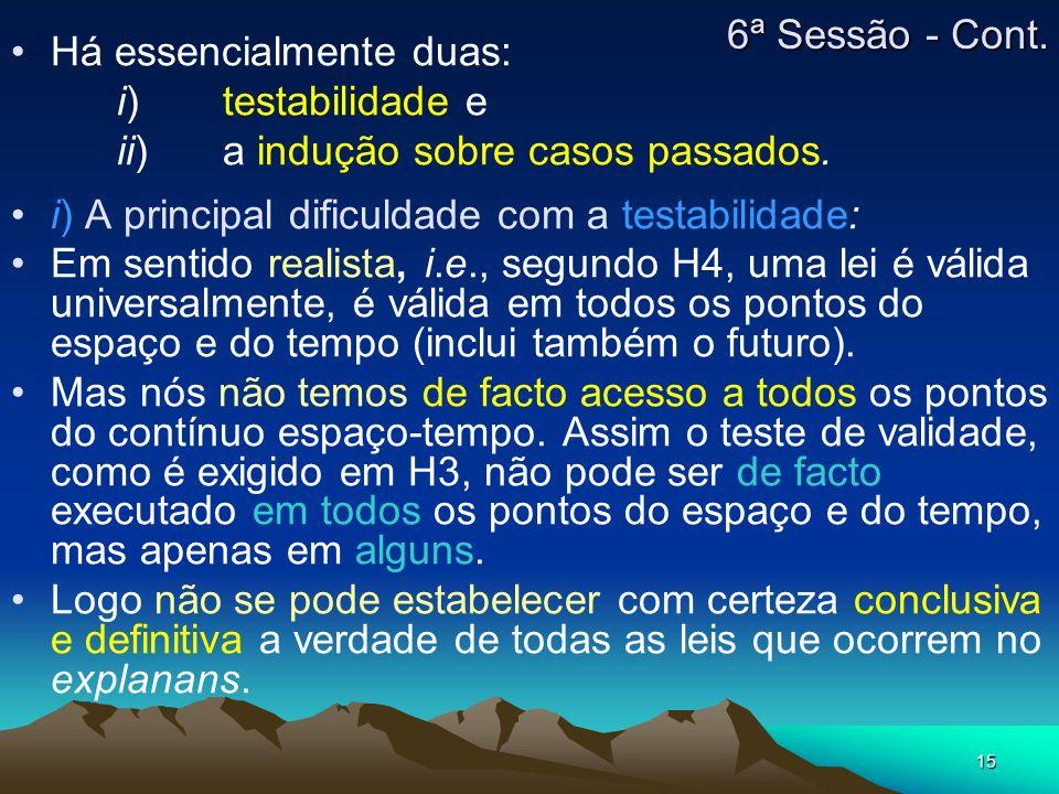6ª Sessão - Cont. Há essencialmente duas: i) testabilidade e. ii) a indução sobre casos passados.