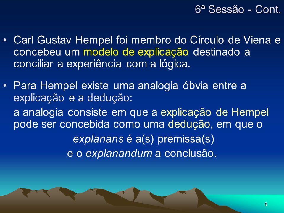 Para Hempel existe uma analogia óbvia entre a explicação e a dedução: