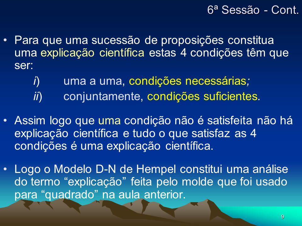6ª Sessão - Cont. Para que uma sucessão de proposições constitua uma explicação científica estas 4 condições têm que ser: