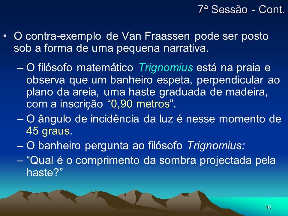 7ª Sessão - Cont. O contra-exemplo de Van Fraassen pode ser posto sob a forma de uma pequena narrativa.