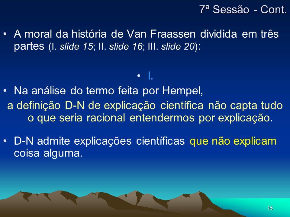 7ª Sessão - Cont. A moral da história de Van Fraassen dividida em três partes (I. slide 15; II. slide 16; III. slide 20):