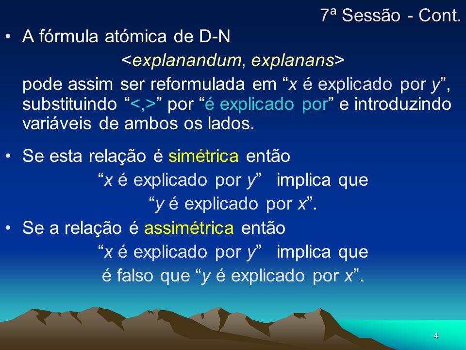 A fórmula atómica de D-N <explanandum, explanans>