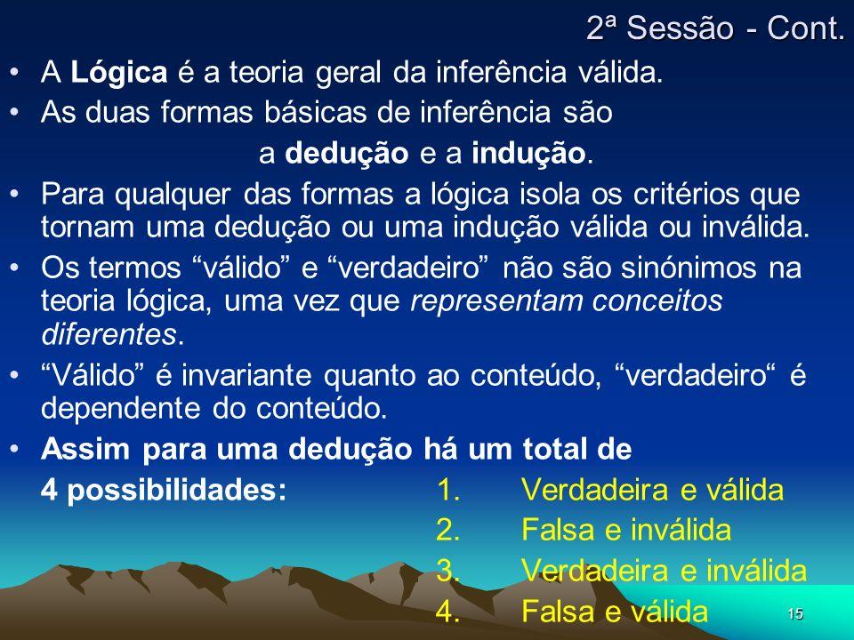 2ª Sessão - Cont. A Lógica é a teoria geral da inferência válida.