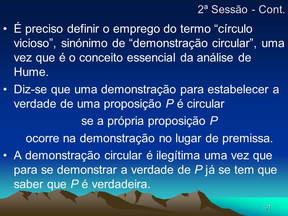 se a própria proposição P ocorre na demonstração no lugar de premissa.
