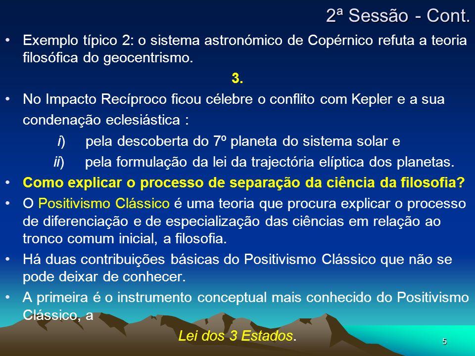 2ª Sessão - Cont. Exemplo típico 2: o sistema astronómico de Copérnico refuta a teoria filosófica do geocentrismo.