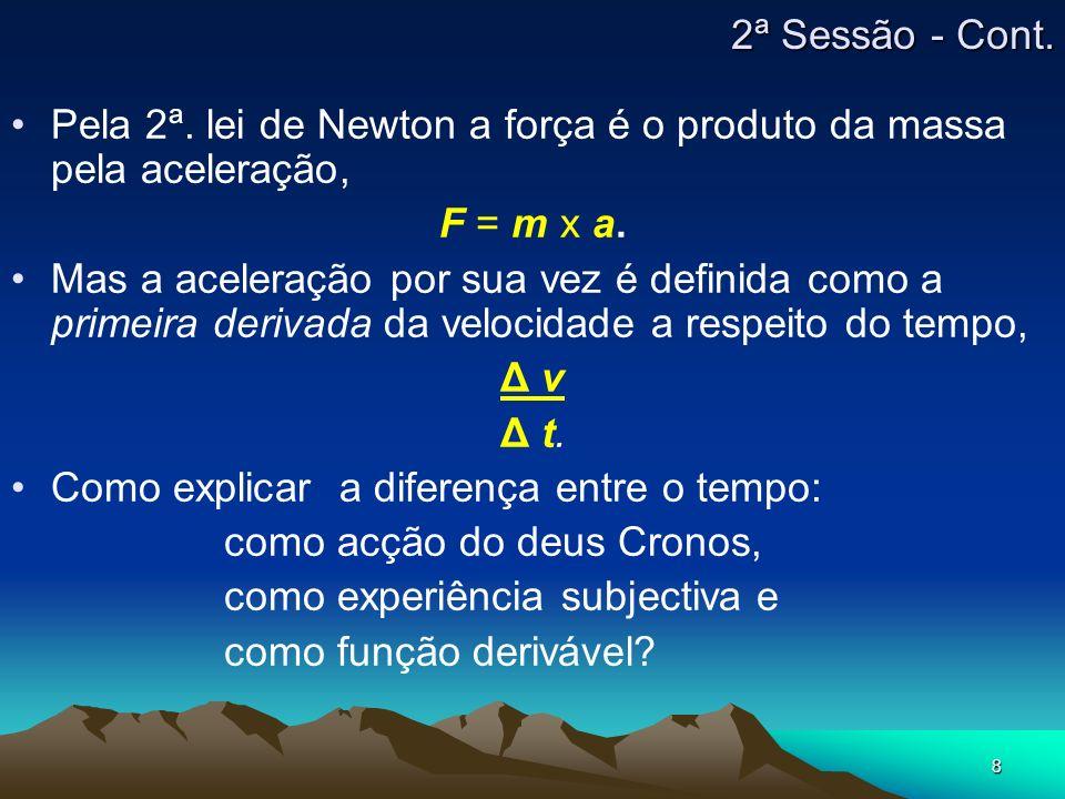 2ª Sessão - Cont.Pela 2ª. lei de Newton a força é o produto da massa pela aceleração, F = m x a.