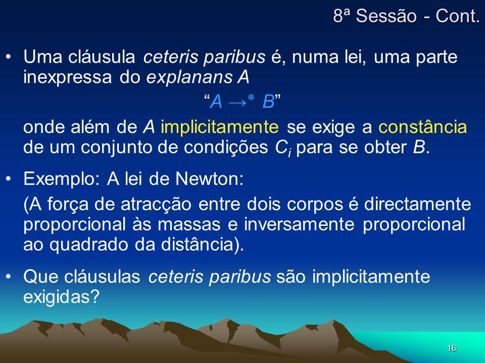 8ª Sessão - Cont.Uma cláusula ceteris paribus é, numa lei, uma parte inexpressa do explanans A. A →٭ B
