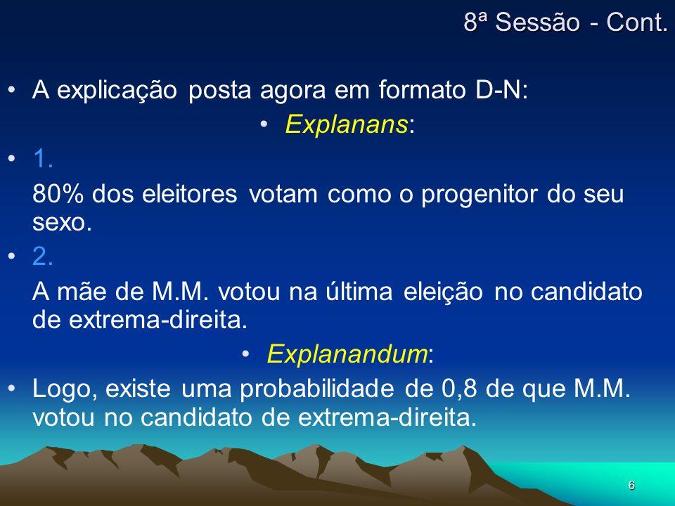 8ª Sessão - Cont.A explicação posta agora em formato D-N: Explanans: 1. 80% dos eleitores votam como o progenitor do seu sexo.