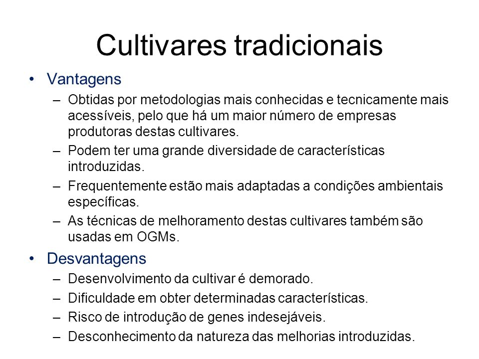 Cultivares tradicionais