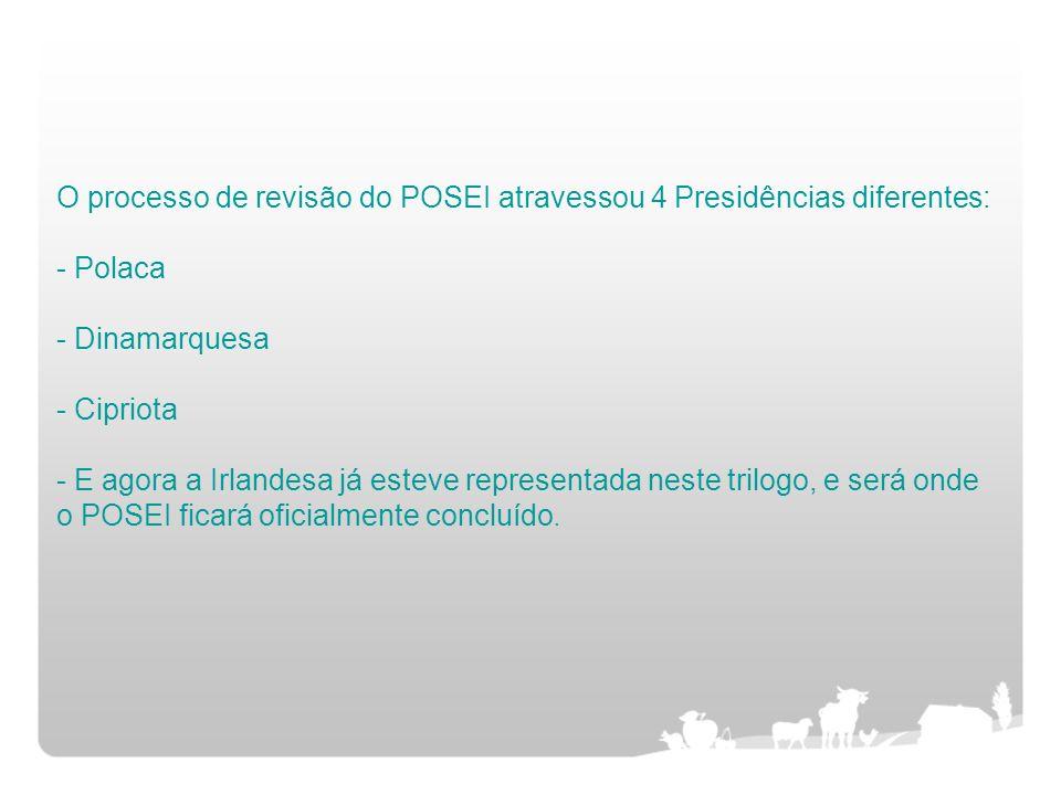 O processo de revisão do POSEI atravessou 4 Presidências diferentes: - Polaca - Dinamarquesa - Cipriota - E agora a Irlandesa já esteve representada neste trilogo, e será onde o POSEI ficará oficialmente concluído.