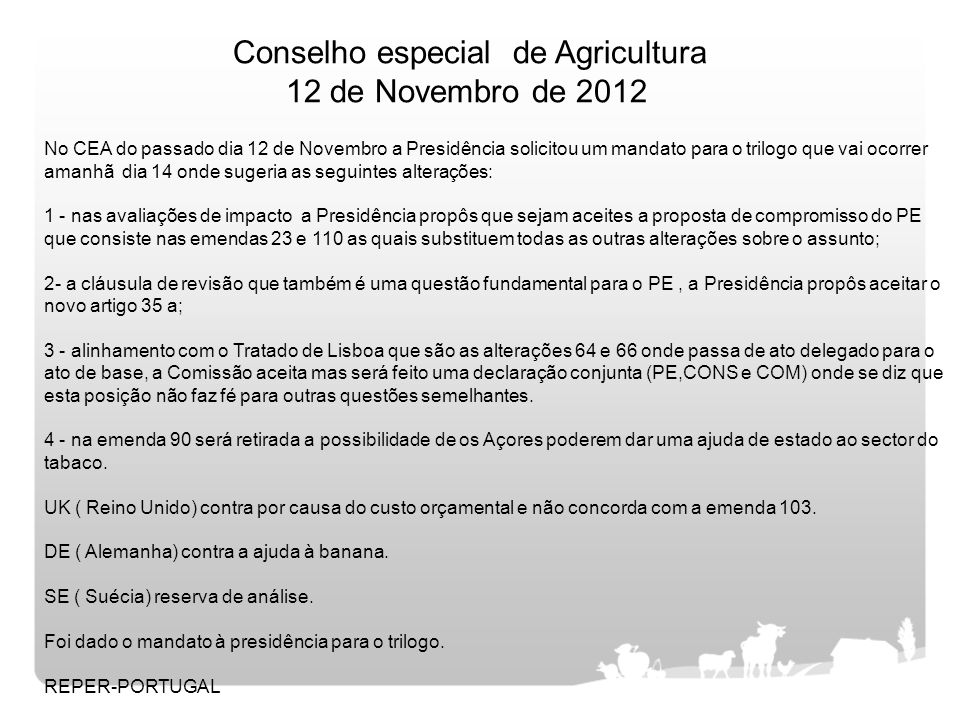 Conselho especial de Agricultura 12 de Novembro de 2012