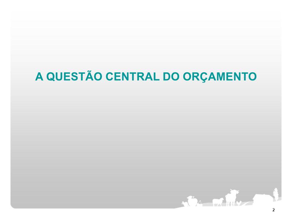 A QUESTÃO CENTRAL DO ORÇAMENTO