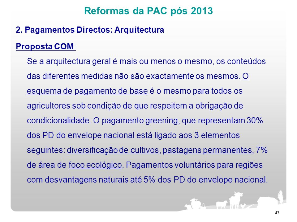 Reformas da PAC pós 2013 2. Pagamentos Directos: Arquitectura