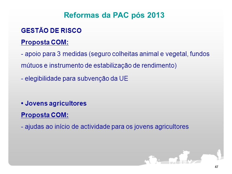 Reformas da PAC pós 2013 - elegibilidade para subvenção da UE