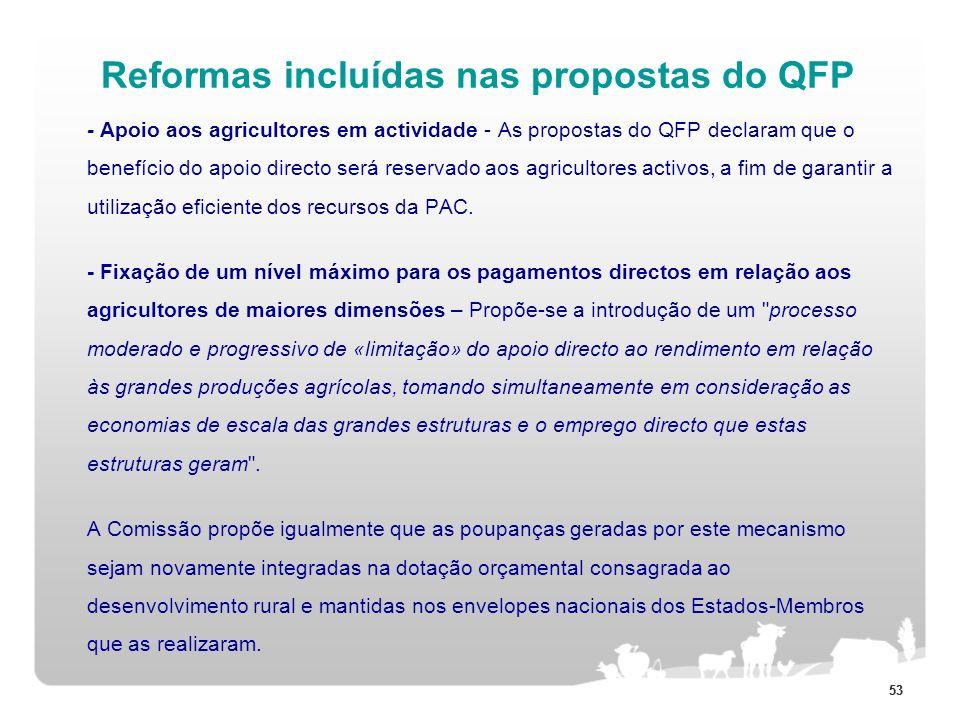 Reformas incluídas nas propostas do QFP