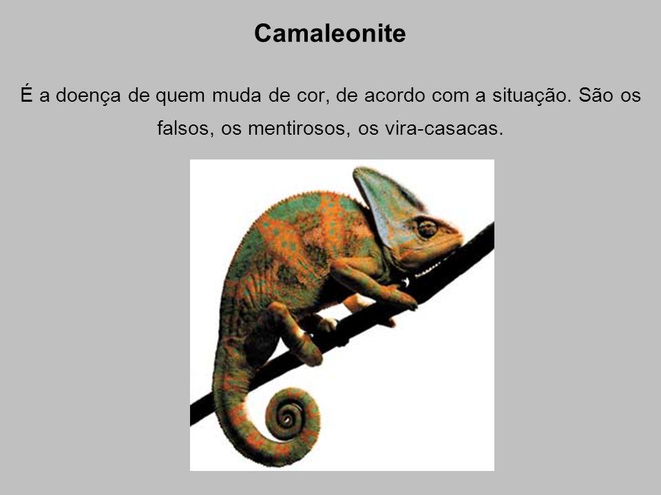 Camaleonite É a doença de quem muda de cor, de acordo com a situação.