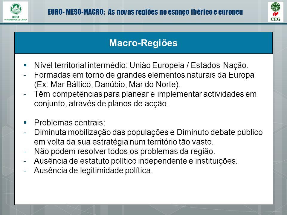 Macro-Regiões Nível territorial intermédio: União Europeia / Estados-Nação.