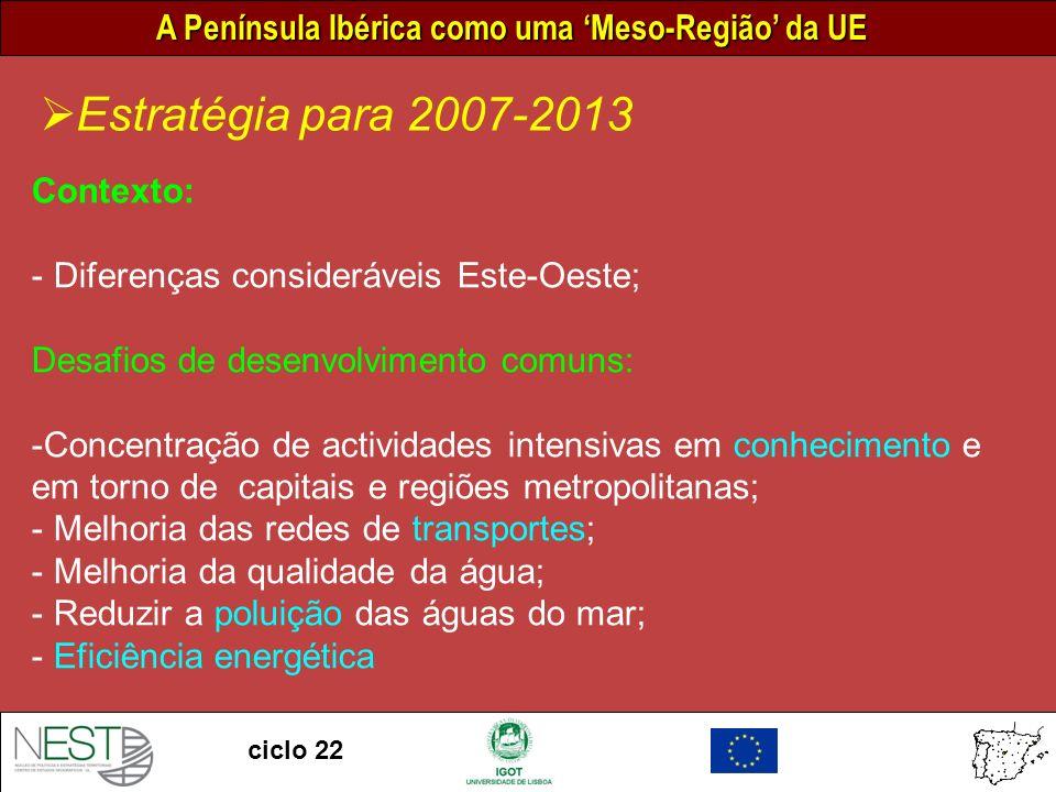 Estratégia para 2007-2013 Contexto:
