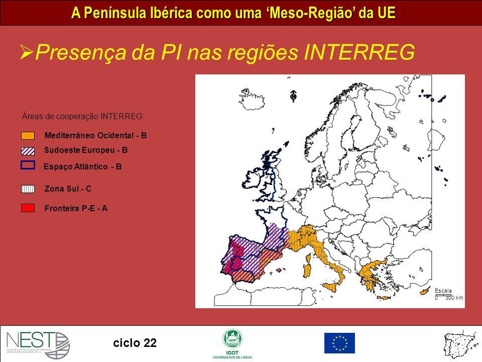 Presença da PI nas regiões INTERREG