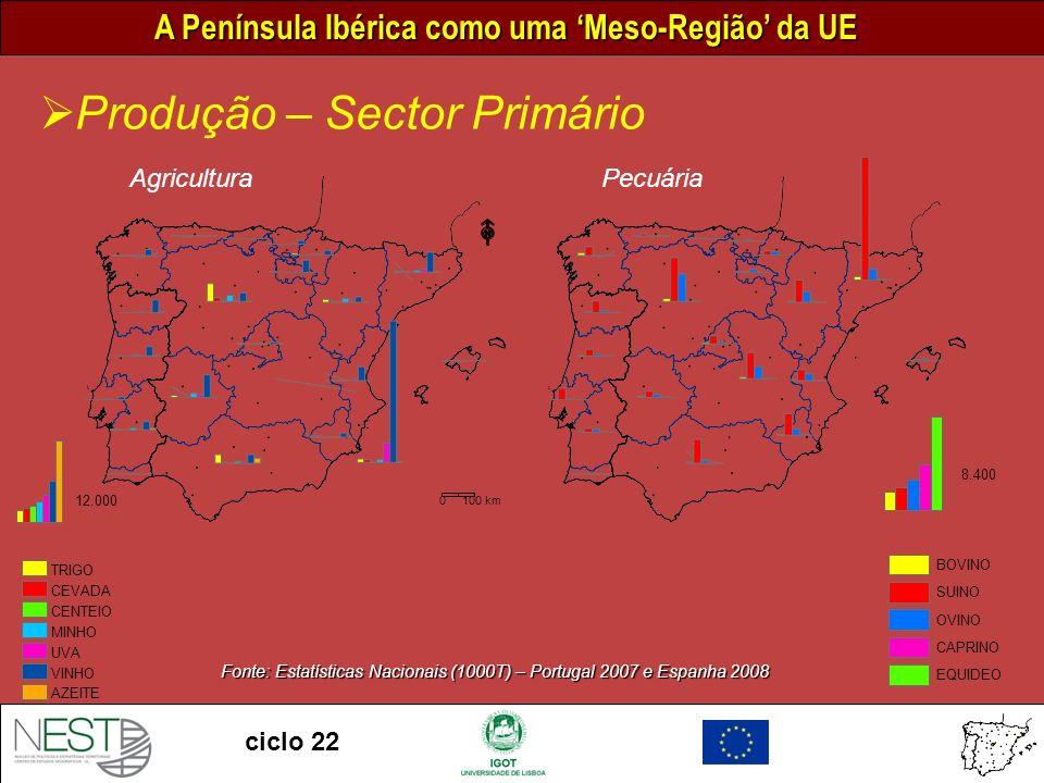 Fonte: Estatísticas Nacionais (1000T) – Portugal 2007 e Espanha 2008