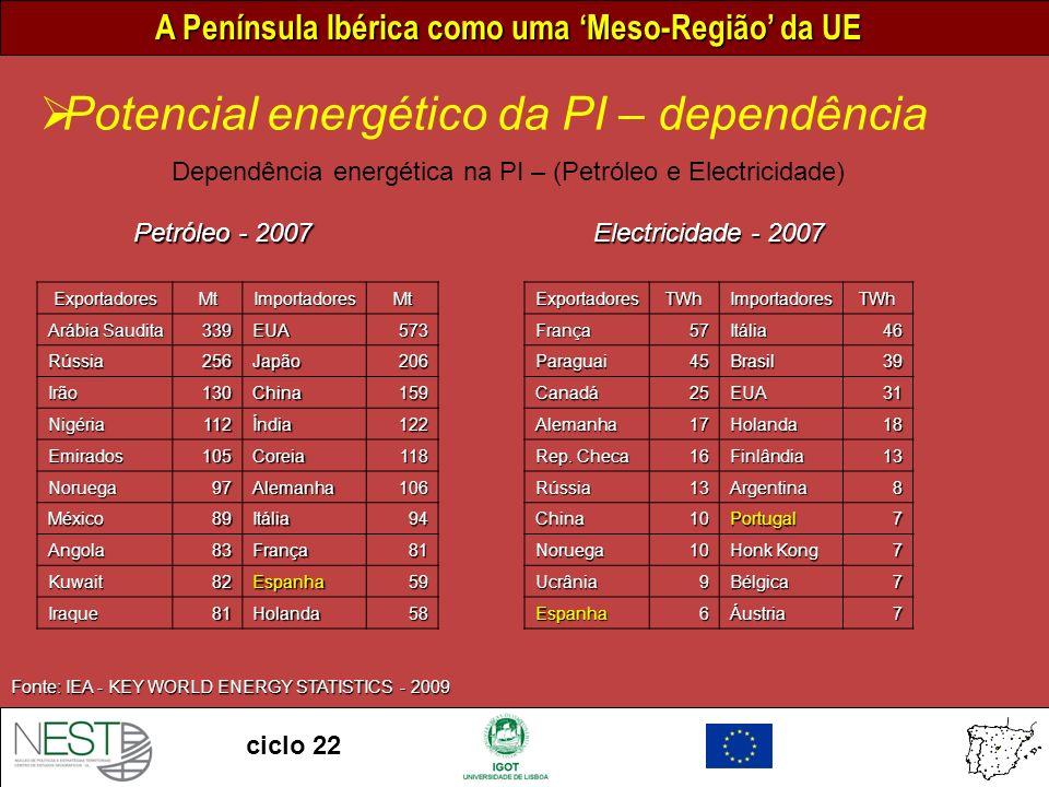 Dependência energética na PI – (Petróleo e Electricidade)