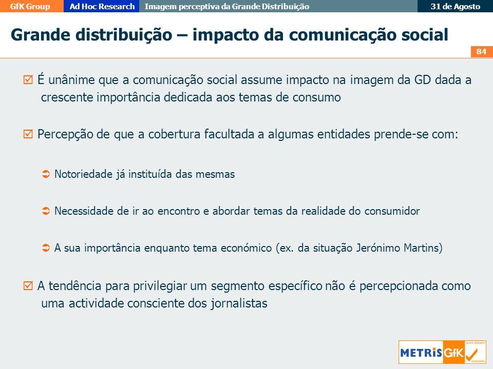 Grande distribuição – impacto da comunicação social