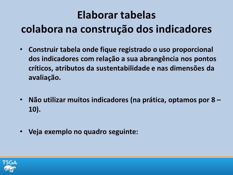 Elaborar tabelas colabora na construção dos indicadores